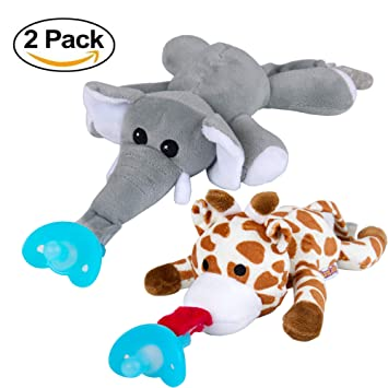 KareCaddy Animal Chupetes - Peluche suave con silicona desmontable ...