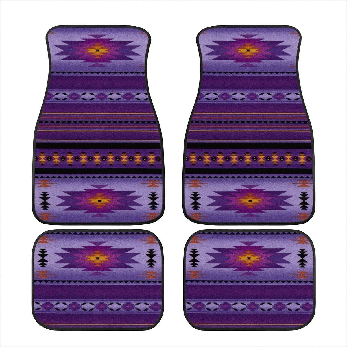 INSTANTARTS 4 Piece Aztec Ethnic Design Auto Front /& Rear Floor Mats,Universal Fit Anti Skid Washable Car Floor Carpets for SUV Trucks Red