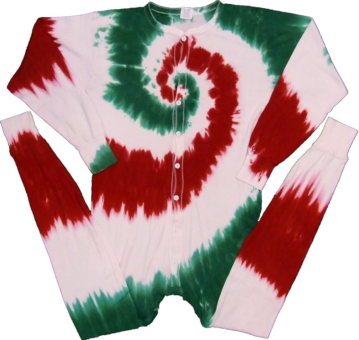 Christmas Cheer Spiral Tie Dye Union Suit Underwear-XLarge-Multicolor by Tie Dyed Shop