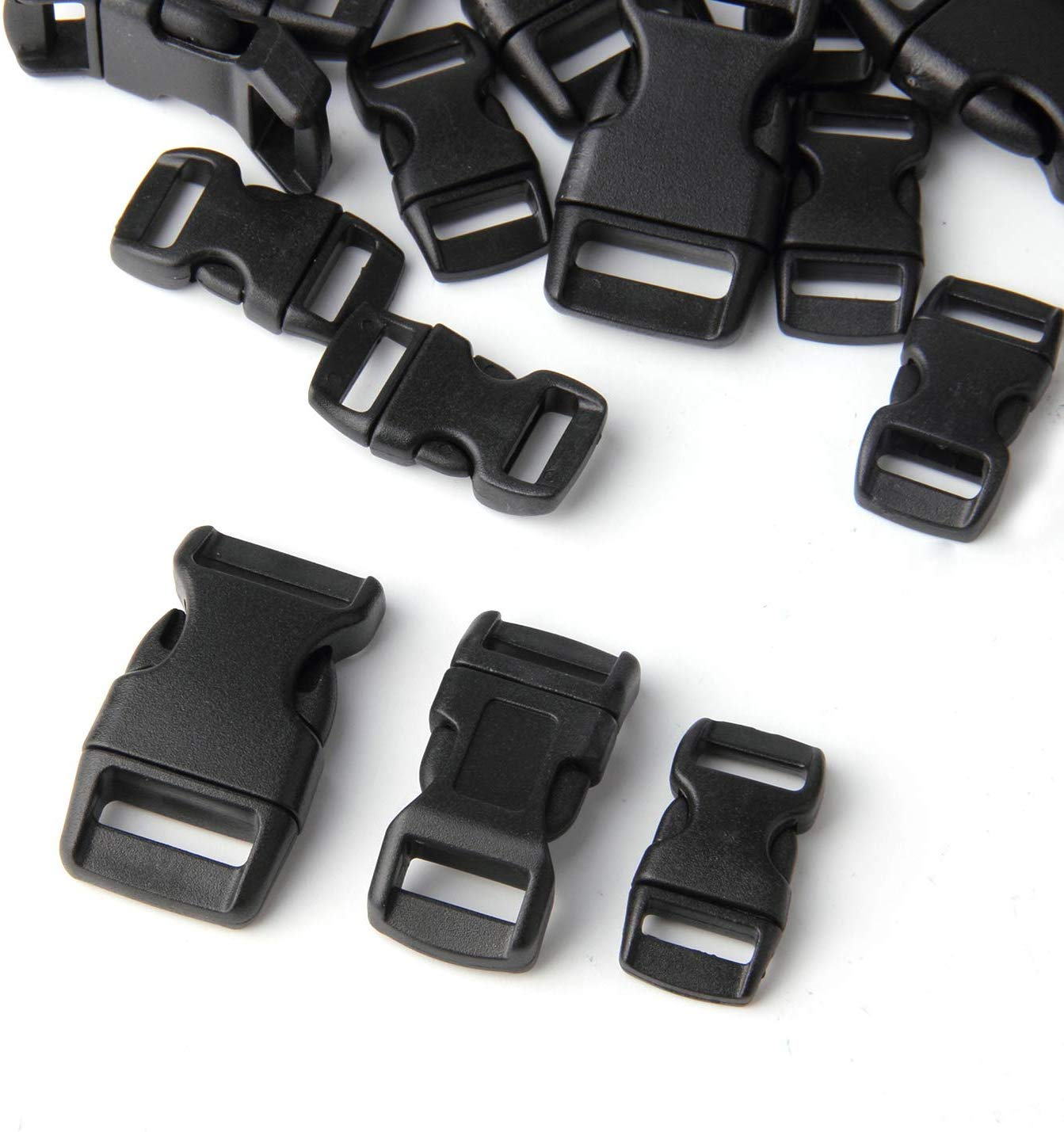 Black Plastic Contoured Side Release Buckles for Paracord Bracelets-60pcs 20 Each 5//8 1//2 and 3//8 inch