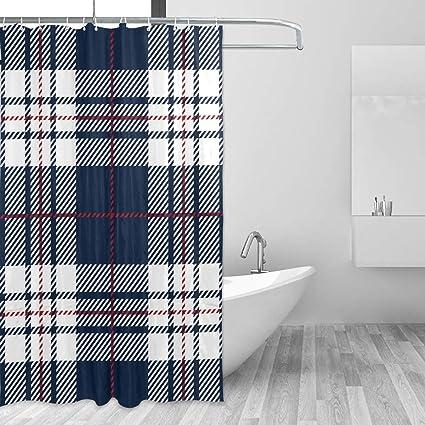 LUCASE LEMON ALEX Dark Blue White Plaid Shower Curtain Set For Home Decoration Polyester Waterproof Fabric