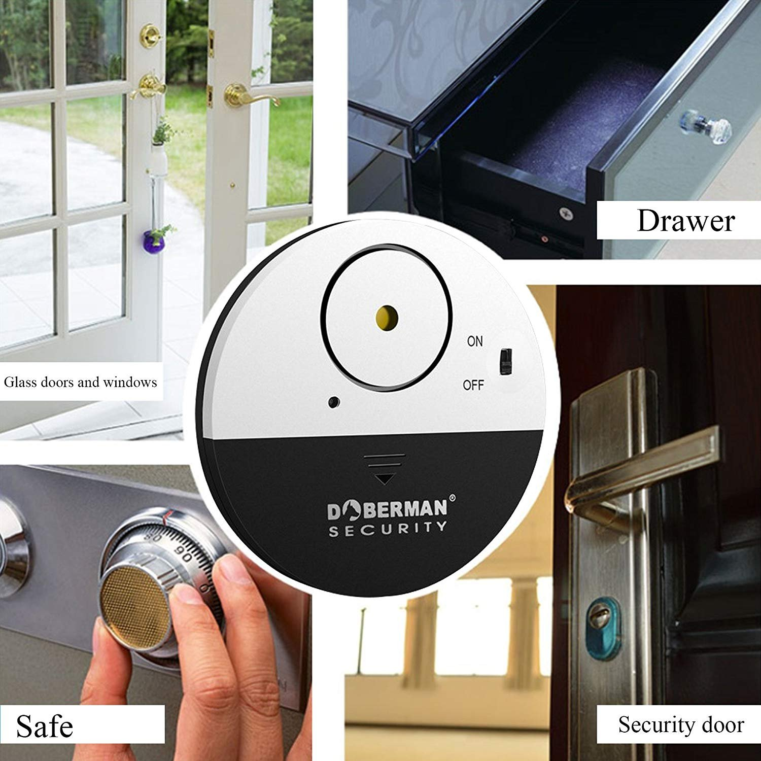 Top-Guard 4 pieza Alarma Hogar de Seguridad de Ventana D/óberman Ultrafino DOBERMAN SECURITY Ultra-Slim Window Alarm Alarma casa
