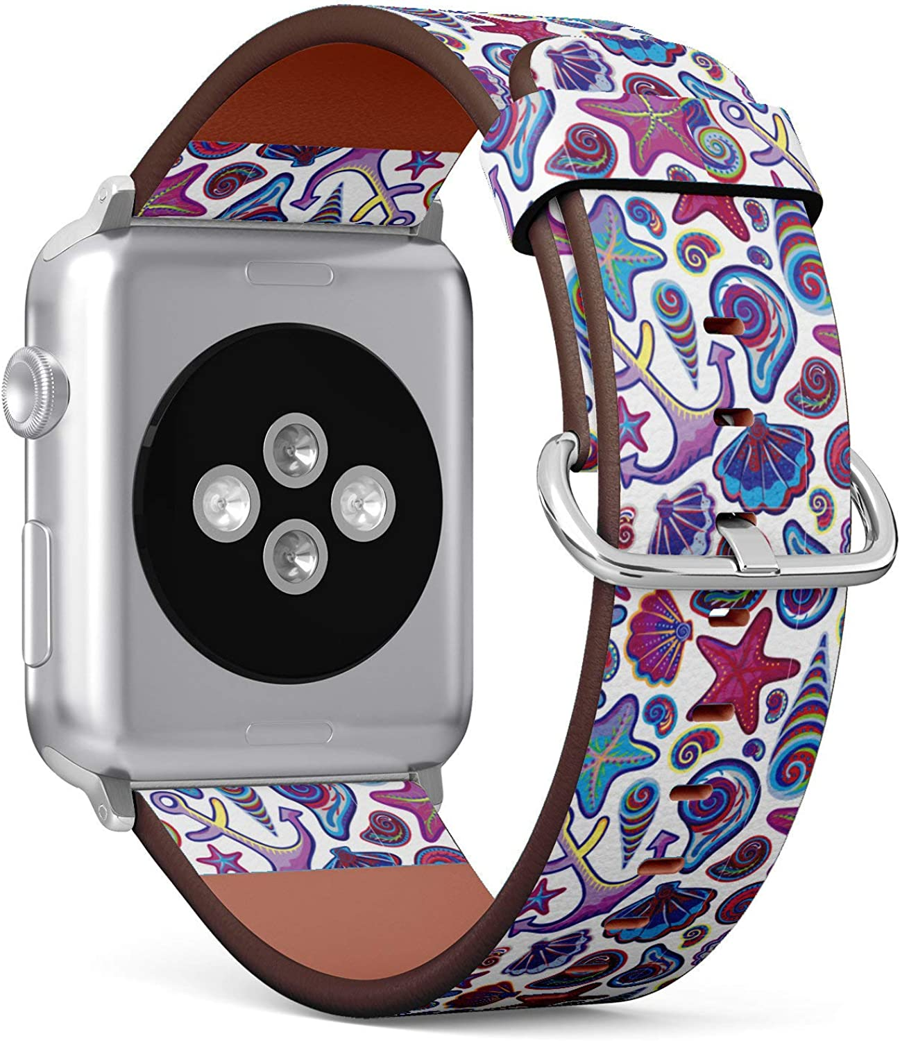 (Hand Draw Pattern with Ocean Shells Starfish Anchor Wheel) Patterned Leather Wristband Strap Compatible with Apple Watch Series 4/3/2/1 gen,Replacement of iWatch 38mm / 40mm Bands