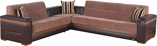 ISTIKBAL Multifunctional Furniture Living Room SECTIONAL SOFA SLEEPER Troya Brown MOON Collection - the best living room sofa for the money