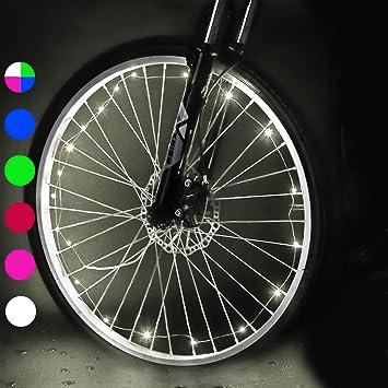 Luces para Rueda de Bicicletas, Caiyuangg 20LEDs Rueda Luces del Rayo Habló Luze para Bicicleta con 2 Modelos (Blanco): Amazon.es: Deportes y aire libre