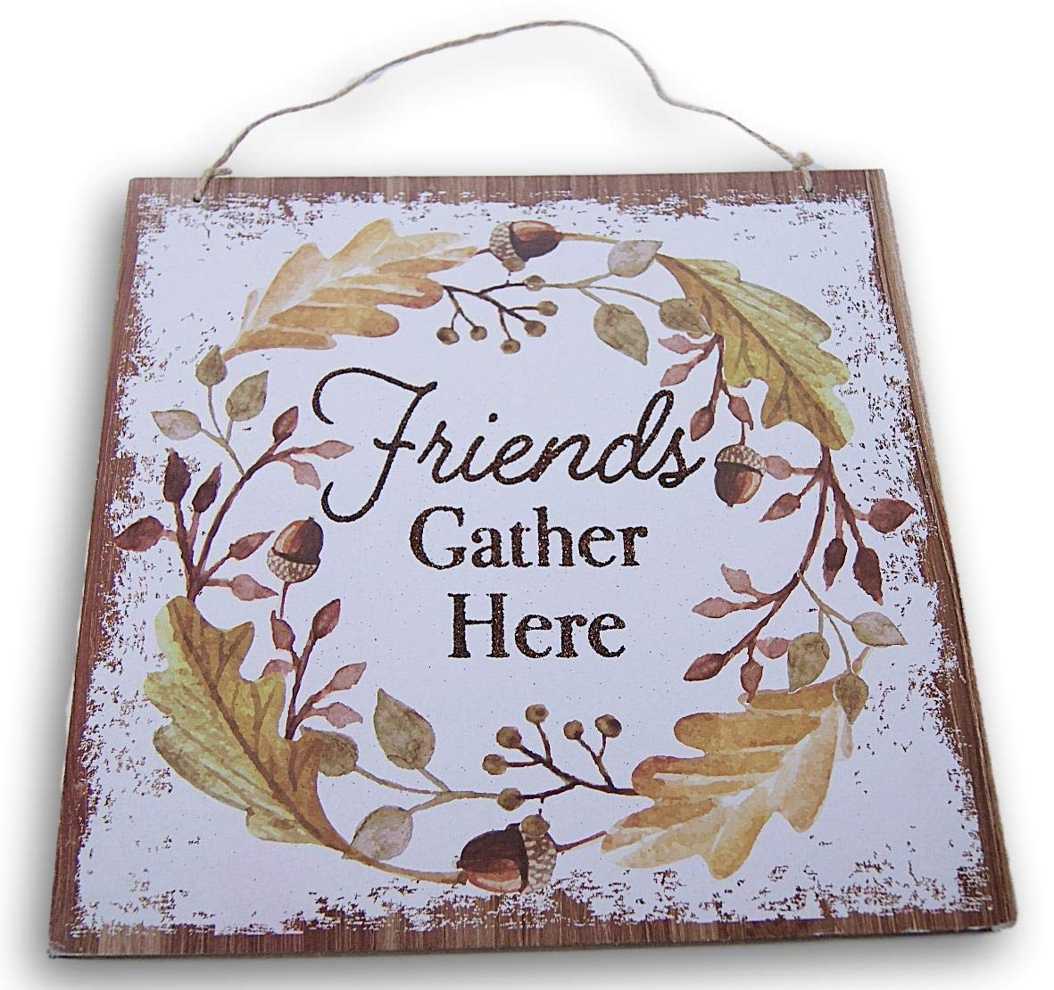 Glittery Hanging Thanksgiving Fall Themed ''Friends Gather Here'' Decor Sign - 11 x 11 Inches