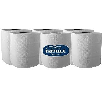 Ismax Papel Rollo Bobina Industrial Reciclado Multiusos Secamanos Pack 6 Unidades 900gr - 2 Capas - 113 Metros Bobina Absorbente Ecologico Extra XXL ...