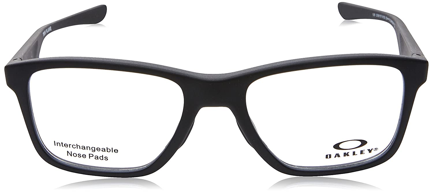 efb184b708e9 Amazon.com  Oakley OX 8107 01 Trim Plane (TRUBRIDGE Satin Black Plastic  Square Eyeglasses 53mm  Clothing