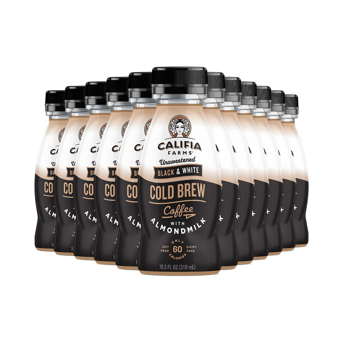 Califia Farms Cold Brew Coffee with Almondmilk, Dairy Free, Plant Milk, Vegan, Non-GMO, Black & White, 10.5 Oz (Pack of 12)