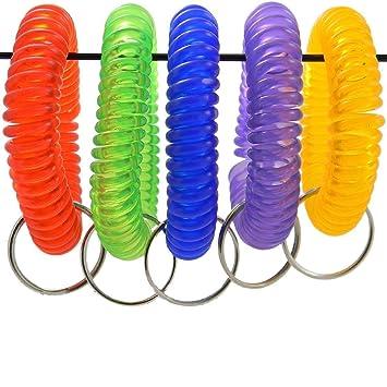 Amazon.com: Pack de 5 llaveros con muelle en espiral para la ...
