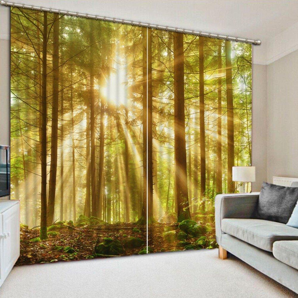 Wapel Landschaft Vorhänge Moderne 3D HD Lebensechte Wald Sonne schwarzout Vorhang Deko Foto 3D-Vorhang 240X320CM