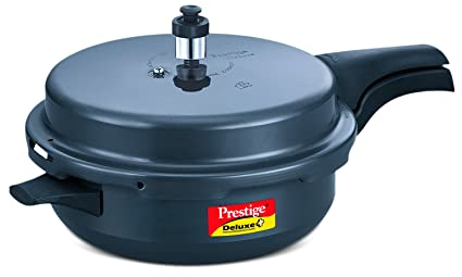 5ebe9afc397 Image Unavailable. Image not available for. Colour  Prestige Deluxe Plus  Senior Pan Induction Base Hard Anodized Pressure Cooker ...