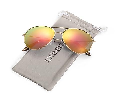 0f0acbb2c61 KAMIERFA Sunglasses with Polarized TAC Polarized Lens Metal Frame Unisex Aviator  Sunglasses UV 400 Protection (Gold Pink)  Amazon.co.uk  Clothing