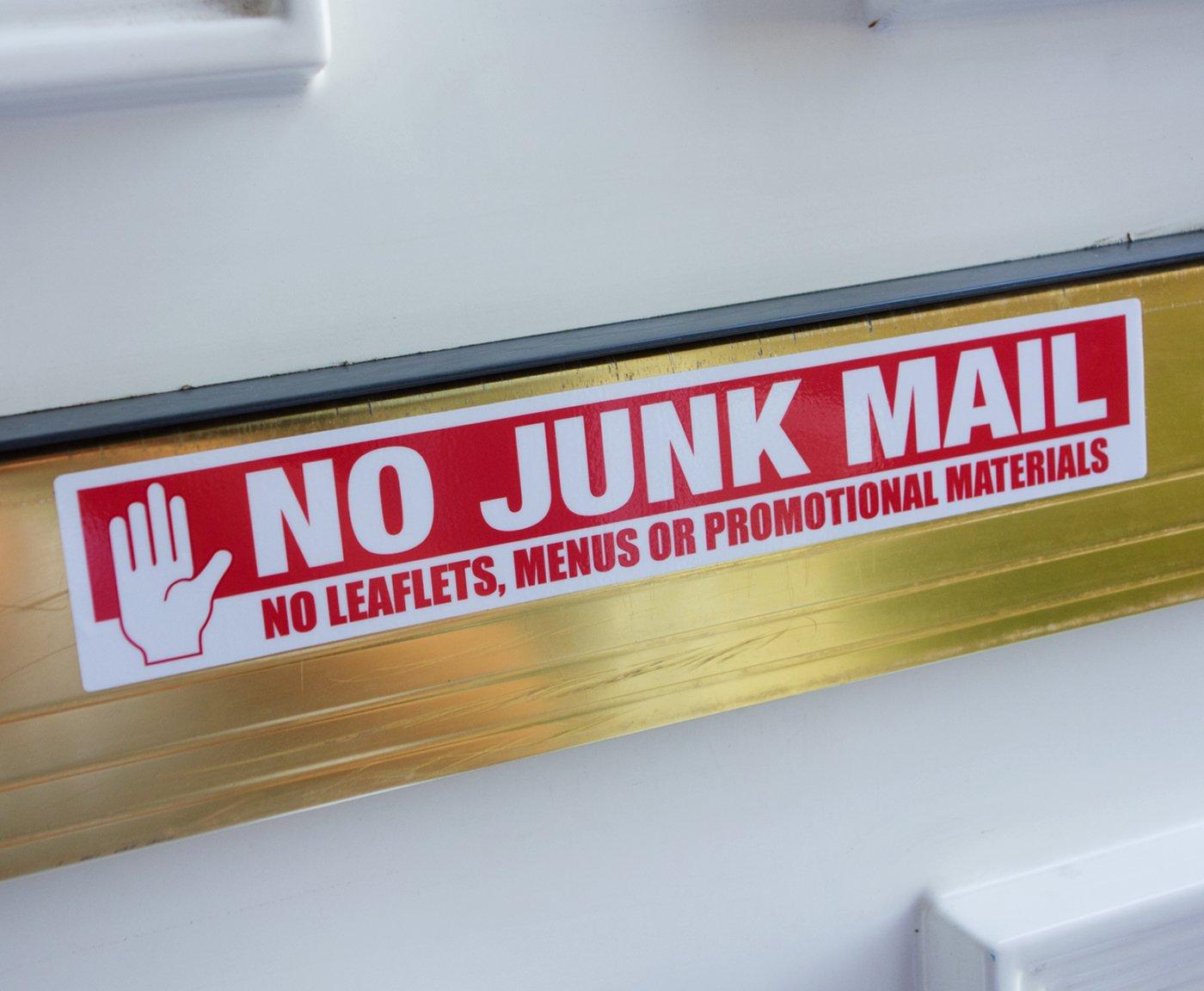 No Junk Mail Letterbox Sticker 19cm x 3cm Stop Leaflets and Menus Door Premium UV Laminated The Sticker Shop