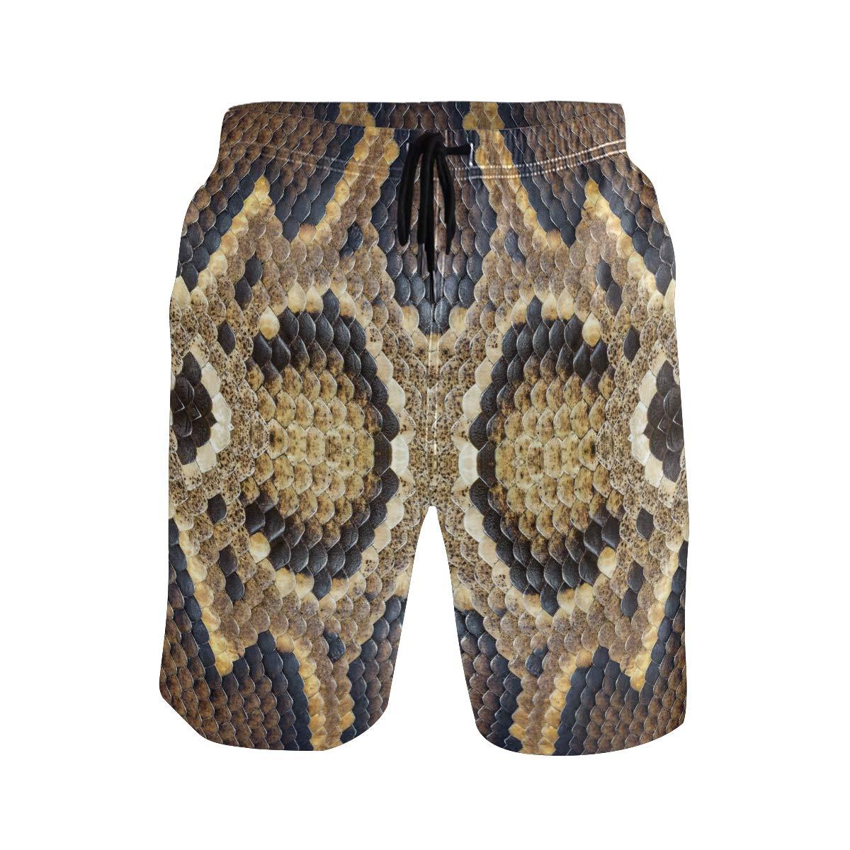 KUWT Mens Swim Trunks Animal Snake Print Quick Dry Beach Shorts Summer Surf Board Shorts