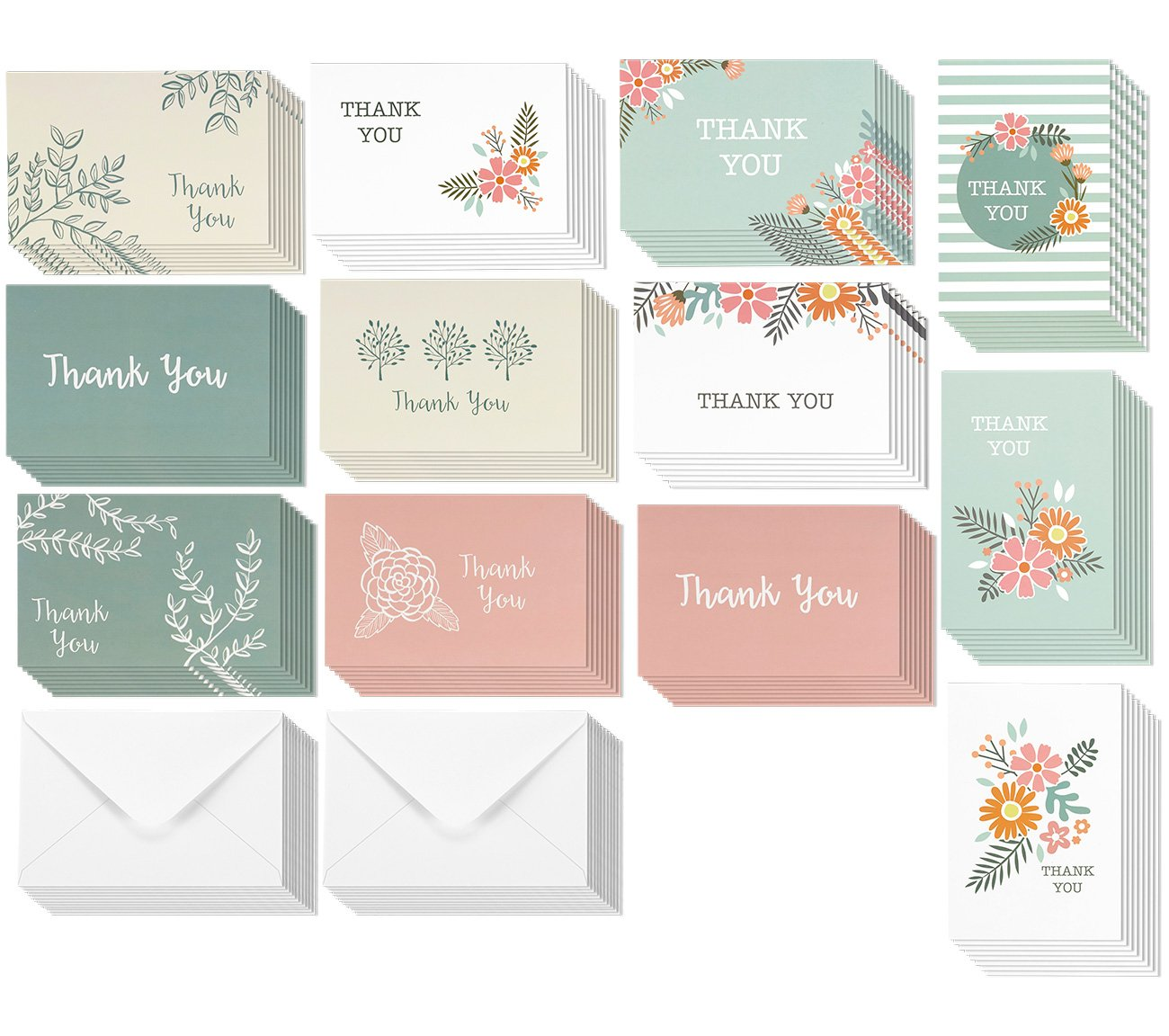 Thank You Cards - 96-Pack Thank You Notes, 12 Assorted Colorful Designs for Her, Bulk Thank You Cards and Envelopes, 4 x 6 Inches