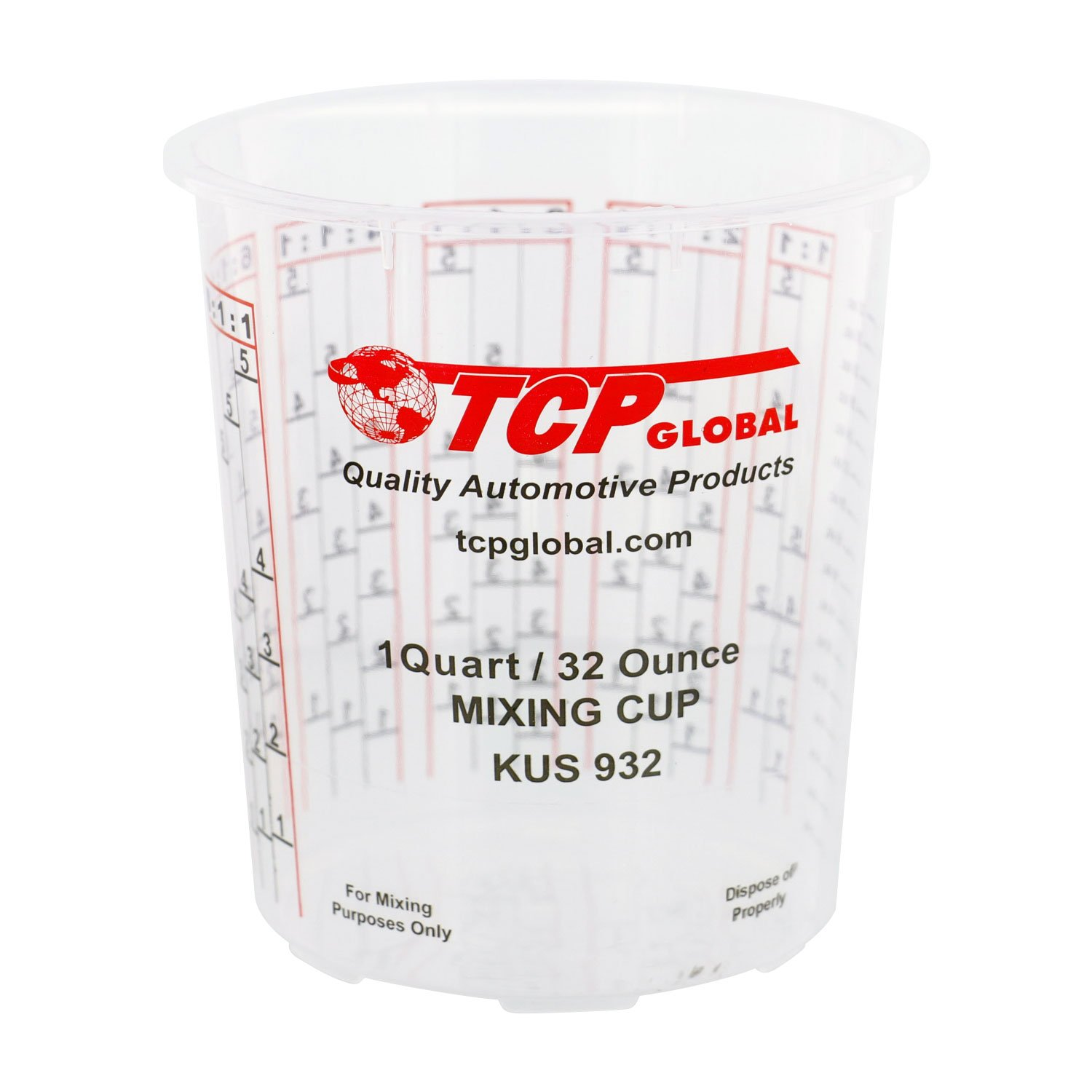 Custom Shop Pack Of 12 each 32 Ounce Paint Mix Cups with calibrated mixing ratios on side of cup by Custom Shop