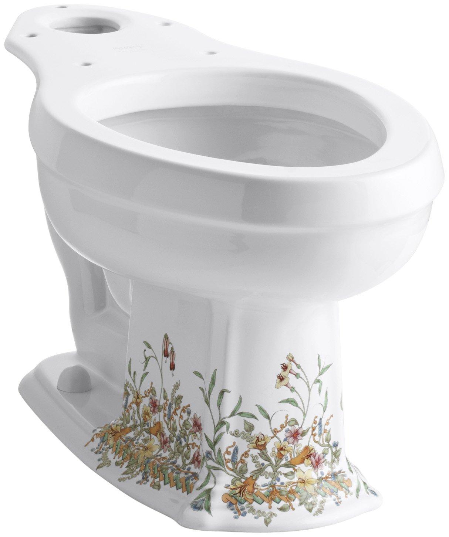 KOHLER K-14248-FL-0 English Trellis Toilet Bowl, White