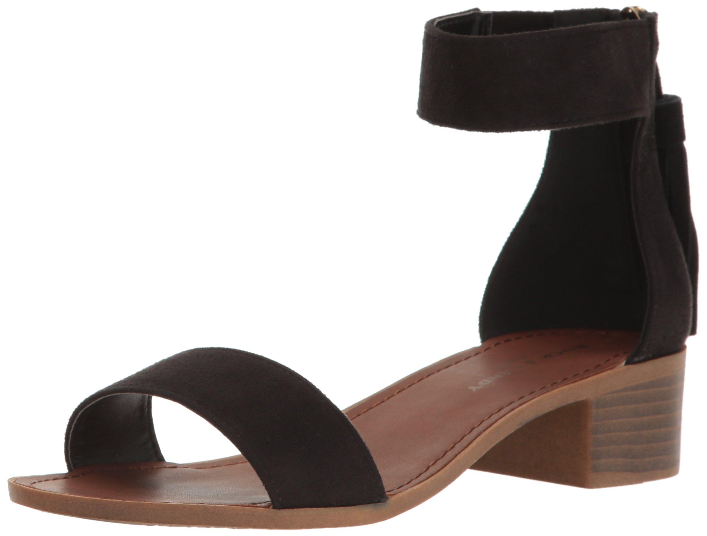 Rock & Candy Women's Nancie Flat Sandal, Blk Sudette a, 6 M US
