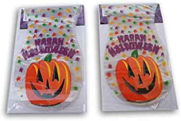 Spooky Town Halloween Themed Jack o Lantern Patterned Loot Treat Bags - 50 Pack