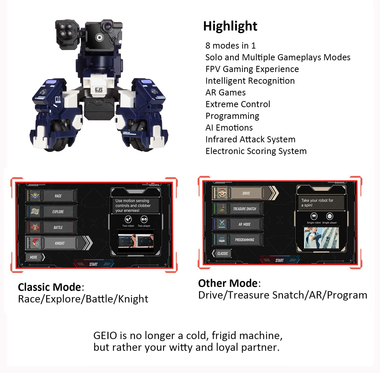 GJS Robot - GEIO Gaming Robot, App-Connected Program Robotic, STEM Educational Robots for Kids to Learn Coding, 8 Modes in 1(Blue) by GJS Robot (Image #3)