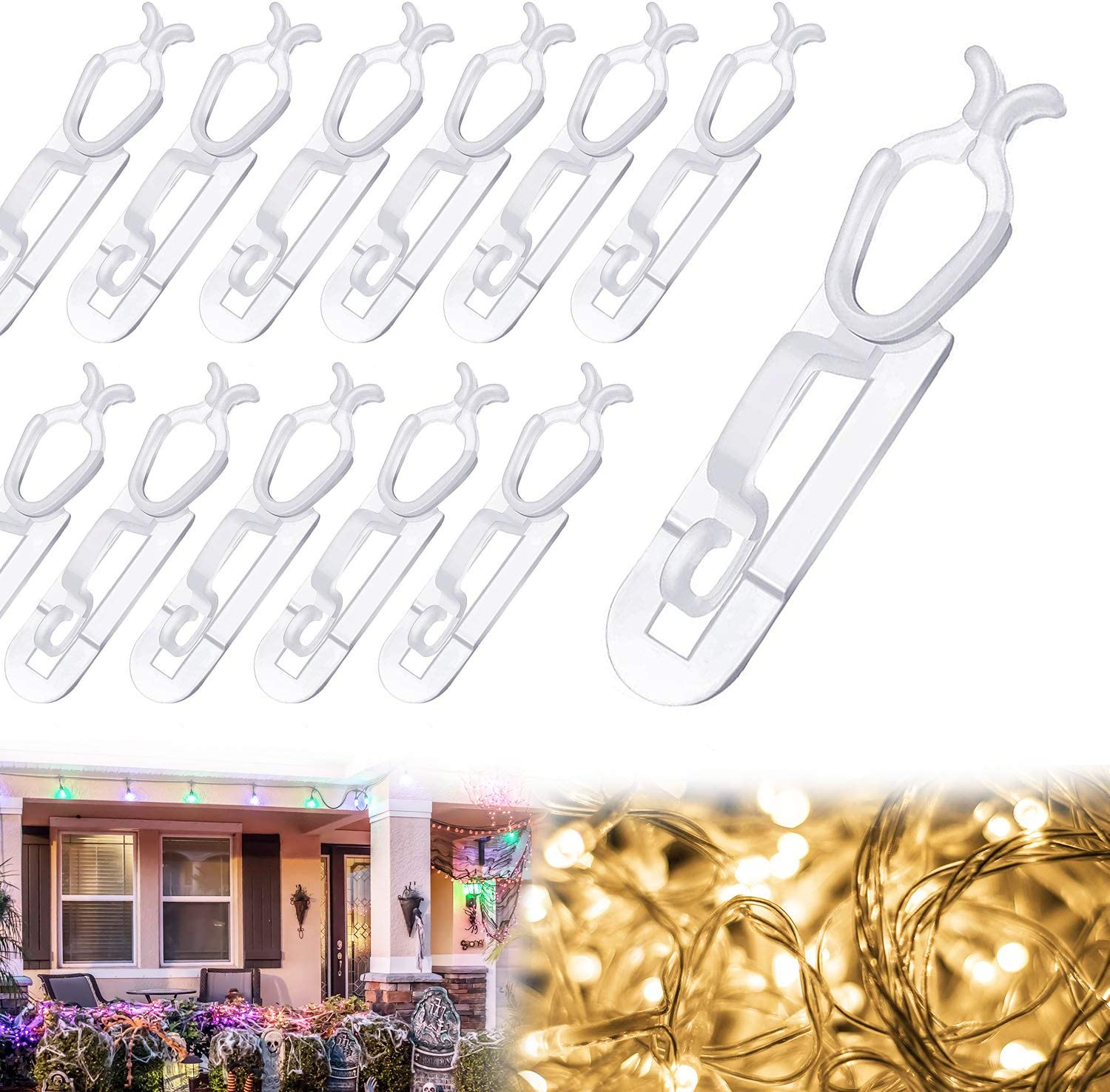 80 PCS Christmas Gutter Hooks Light Clips, Gutter Clips Light Hang Hooks Compatible with C6, C7, C9 and LED Mini String Lights for Xmas Decoration Outdoor, Roof Ridge Line, Fence