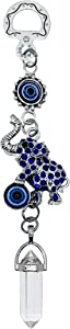 LUCKBOOSTIUM Happy Elephant Pendant Wall Hanging Decor with Lucky Blue Evil Eye & Clear Quartz Crystal - Home Decor Protection, Good Luck Charm for Car Mirrors, Best Gift Idea for Your Loved Ones