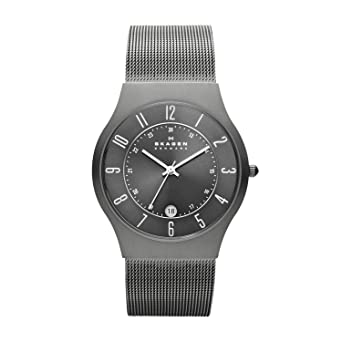 8e29fd4fb5 Skagen Men Grenen Quartz Titanium and Stainless Steel Dress Watch, Color:  Grey (Model