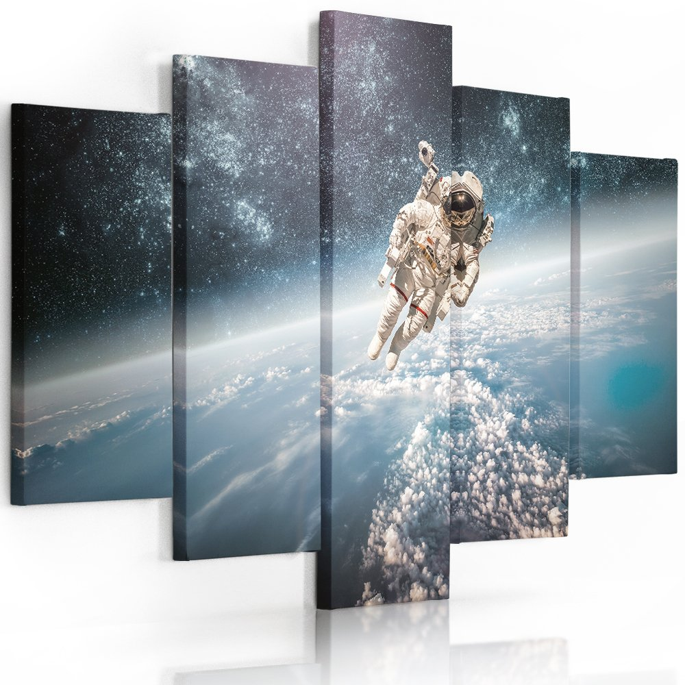 Feeby. Leinwandbild - 5 Teile - Bilder, Wand Bild, Wandbilder, Kunstdruck XXL, 5-Teilig, Typ A, 200x100 cm, WELTRAUM, AUSTRONAUT, BLAU, WEIß
