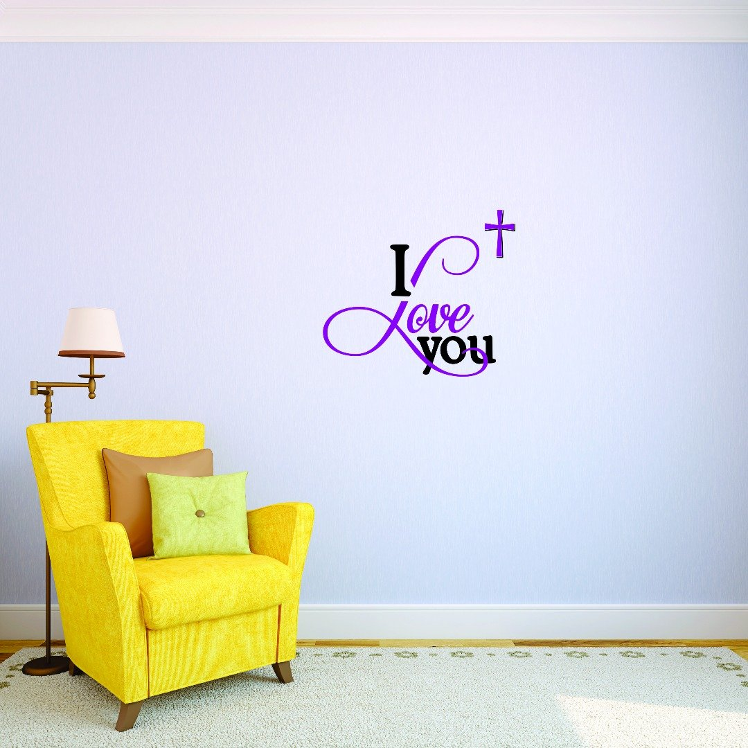 Design with Vinyl JER 1736 3 3 Hot New Decals I Love You Wall Art Size x 18 inches Color 18 x 18 Multi