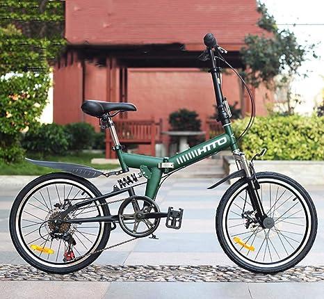 AISHFP Adultos Bicicleta de montaña de 20 Pulgadas, Freno de Disco Doble Bicicleta de Ciudad portátil Plegable de 6 velocidades, Bicicleta de suspensión Todo Terreno,Verde: Amazon.es: Deportes y aire libre