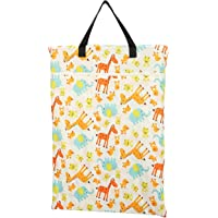 Large Hanging Wet/dry Cloth Diaper Pail Bag for Reusable Diapers or Laundry (Giraffes)