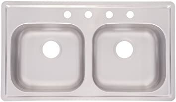 kindred fmsb654nb double bowl stainless steel 33 x 19 inch top mount sink kindred fmsb654nb double bowl stainless steel 33 x 19 inch top      rh   amazon com