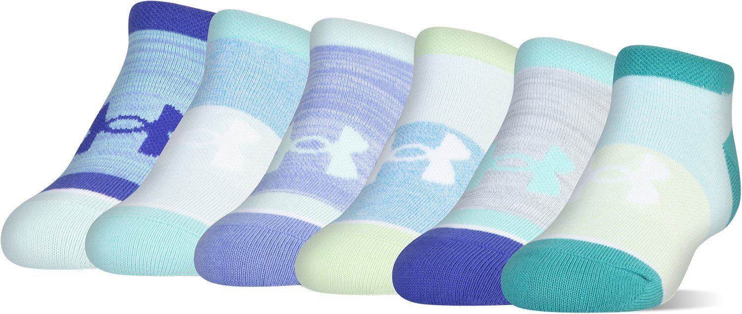 Under Armour Girls Essential Mixed Twist No Show Socks (6 Pack), Talc blue/Assorted, Youth 13.5K-4Y by Under Armour