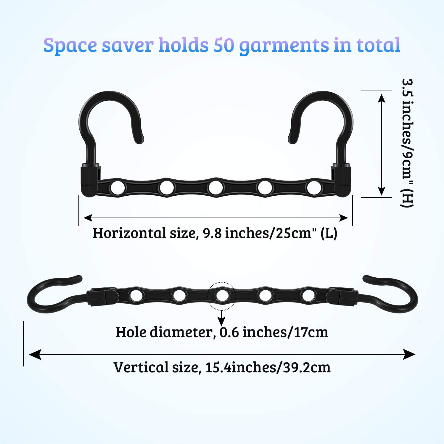 Space Saver Clothes Hangers//Sturdy Plastic//Closet Organizer for Apartments Dorms GoGoMart Space Saving Hangers 12 Pack