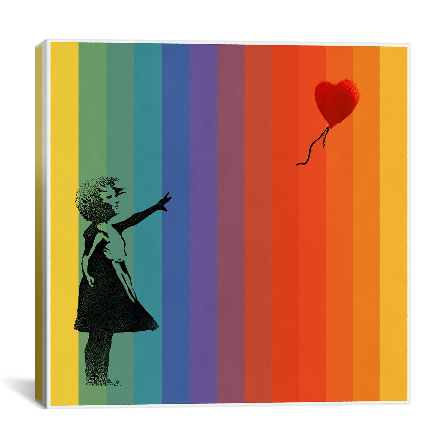 iCanvasART 2017D Girl with Balloon Rainbow Bars Canvas Print by Banksy, 37 by 37-Inch, 0.75-Inch Deep