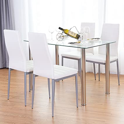 TANGKULA 5 PCS Dining Table Set Modern Tempered Glass Top and PVC Leather chair w/ & Amazon.com - TANGKULA 5 PCS Dining Table Set Modern Tempered Glass ...