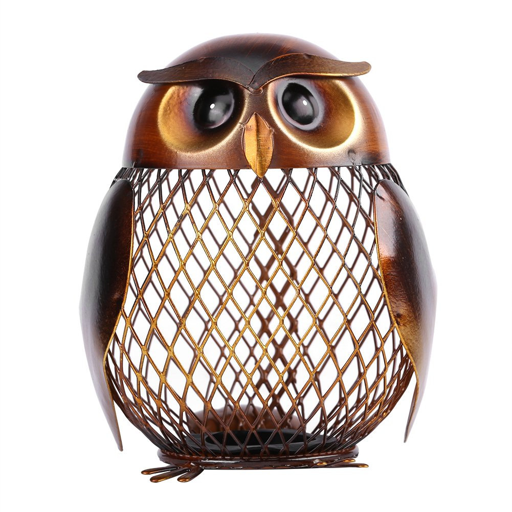 Owl Shaped Metal Piggy Coin Bank Penny Money Box Handwork Crafting Art for Money Storage and Home Decoration Walfront