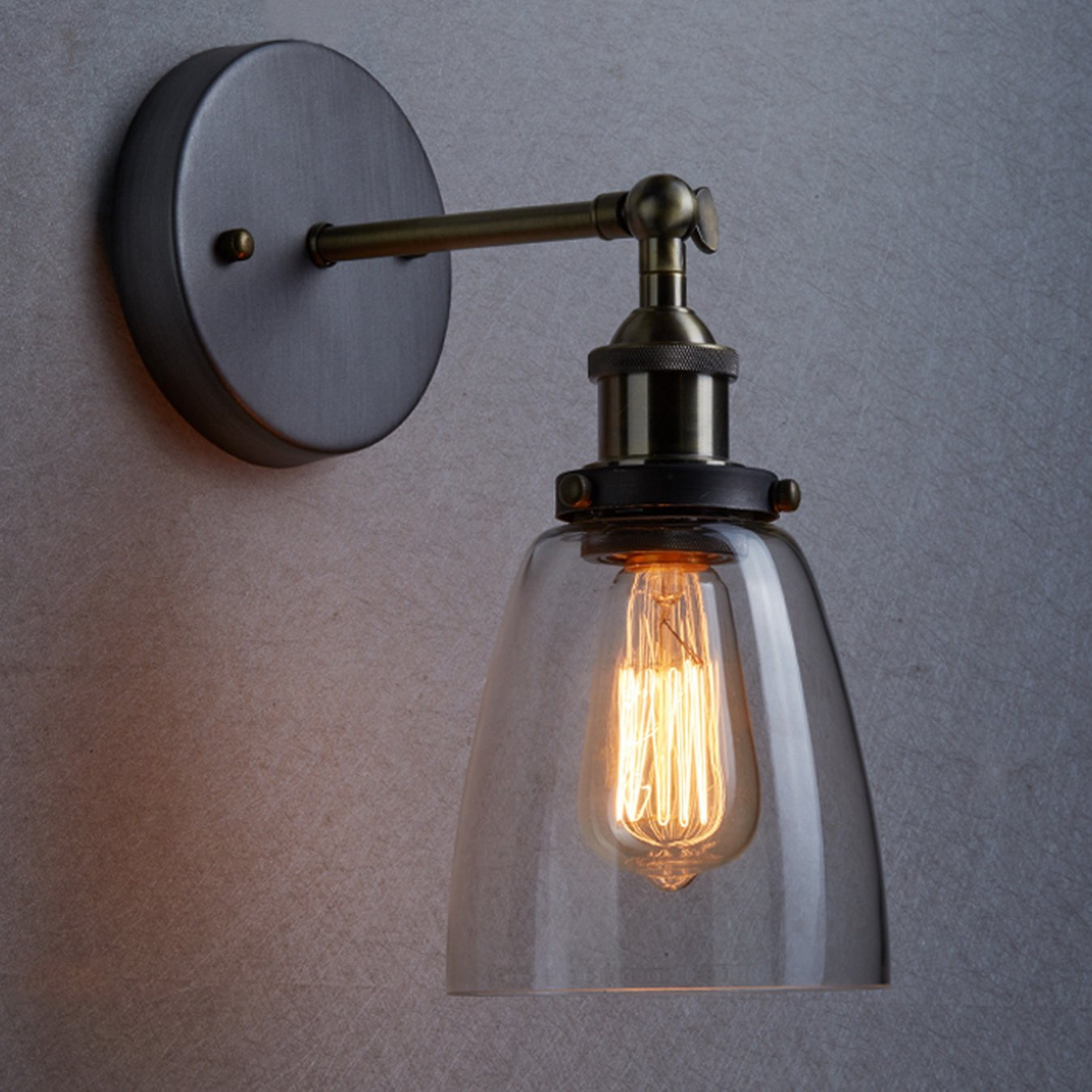 Special vintage style industrial edison ceiling lamp w bulb old - Claxy Industrial Edison Vintage Ceiling Light Glass Wall Sconce Lighting