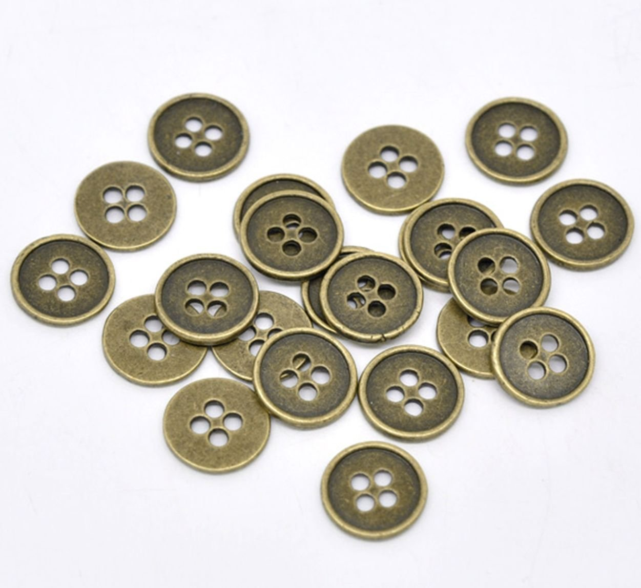 Ideal for Clothes 20 Antique Bronze Vintage Look 13mm Round Metal Buttons Includes 4 Sewing Holes.