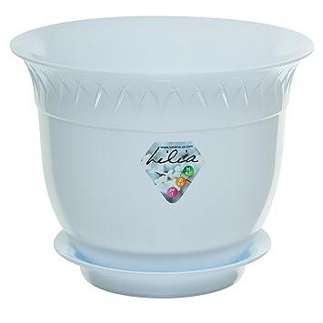 Pot De Fleur Avec Soucoupe Lilia 19 1 Cm Blanc Interieur Ou