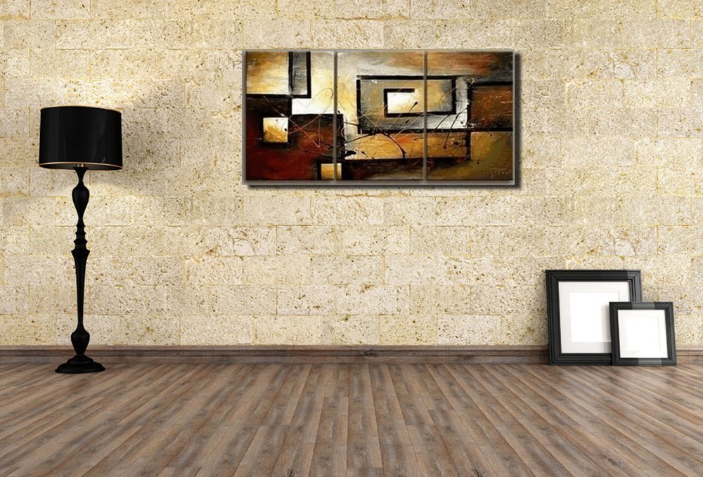 Amazon.com: Mon Art 100% Hand Painted Oil Painting Abstract Art Large  Modern Art 3 Piece Wall Art Canvas Art For Home Decoration (Stretch/Frame):  Paintings