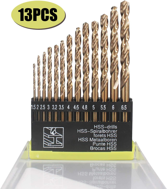 13PCS HSS Cobalt Twist Drill Bits For Hard Metal Stainless Steel 1.5mm-6.5mm US