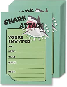 Shark Attack Invitation Cards - 24 Fill-in Invites with Envelopes for Kids Birthday Bash and Theme Party, 5 x 7 Inches, Postcard Style