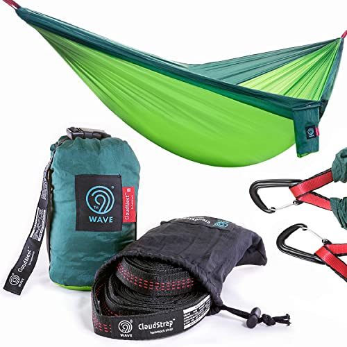 9th WAVE CloudNest Double Tree Hammock Heavy Duty Suspension Straps Alloy Carabiners Bundle – Compact, Lightweight for Camping, Travel, Hiking, Yard or Backpacking