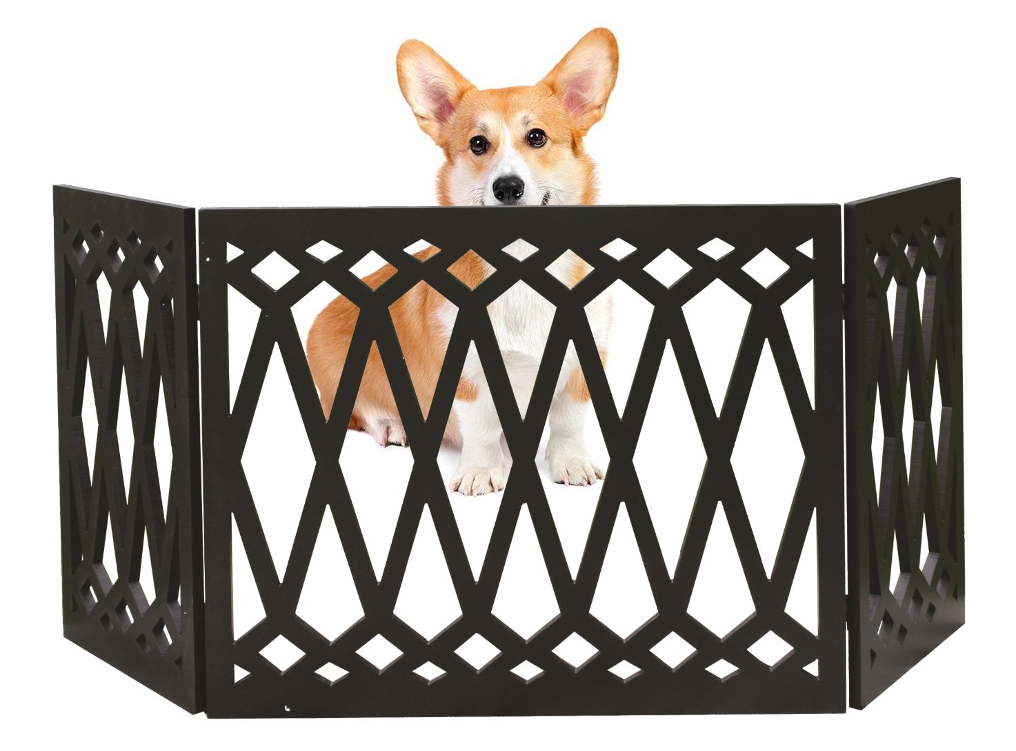 Kleeger Freestanding Folding Dog Gate - For Small Pets [Diamond Deco'r Decorative Design] No Tools Required (Black Diamond)