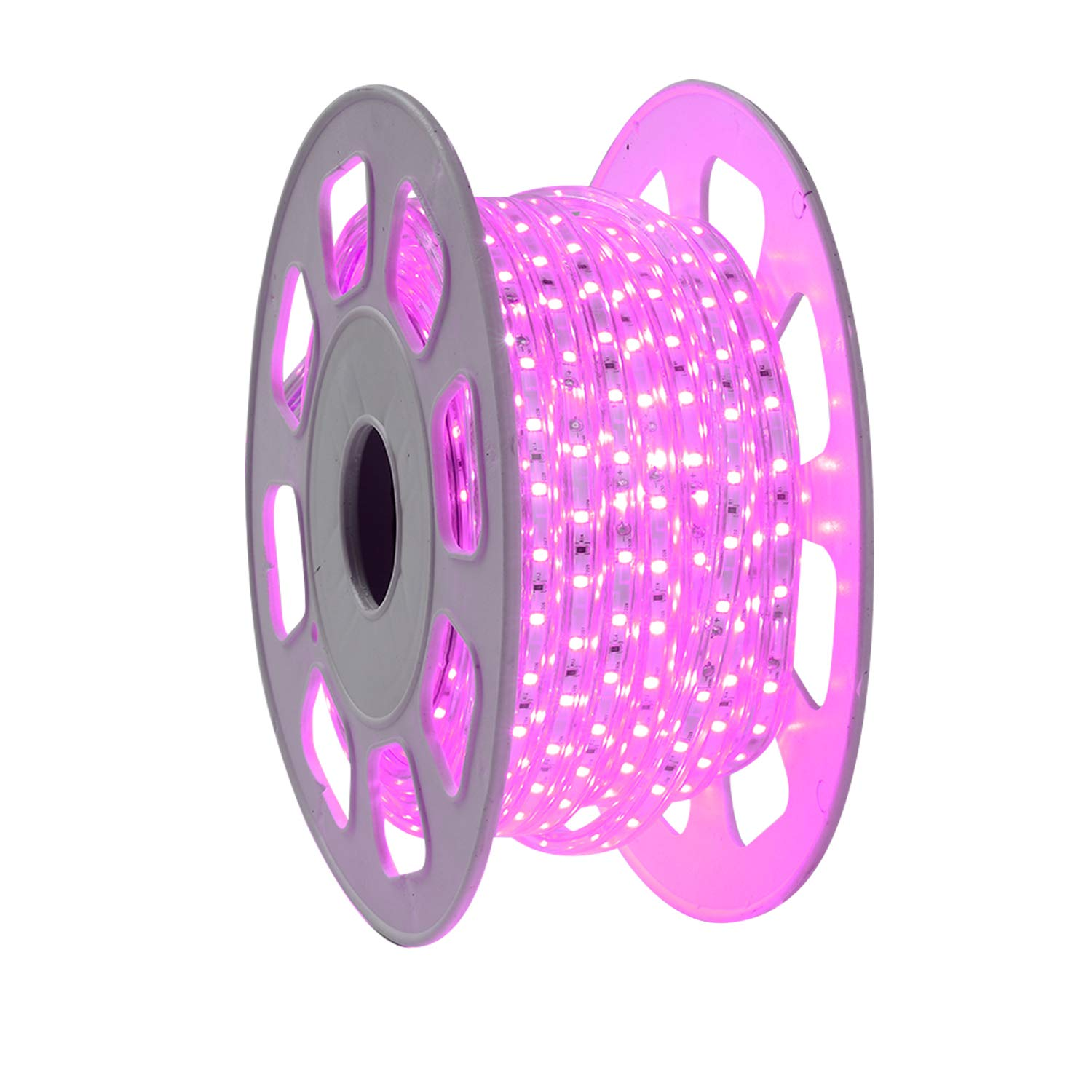 Shine Decor 7x10mm LED Strip Lights, 110V Dimmable Flexible Waterproof Rope Lights, 60LEDs/M, for Indoor Outdoor Ambient Commercial Lighting Decoration, Accessories Included, 50ft Pink Purple
