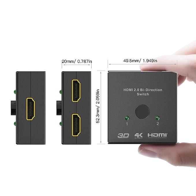 SODIAL Interruttore HDMI 2 Porte Interruttore manuale bidirezionale 2 x 1//1 x 2 Hub HDMI-Passthrough HDCP-Supporta Ultra HD 4K 3D 1080P