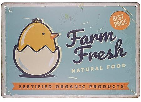 SKYC Farm Fresh Eggs - Cartel de Metal de Estilo Retro ...
