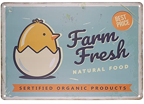 Amazon.com: SKYC Farm Fresh Eggs - Cartel de metal retro ...